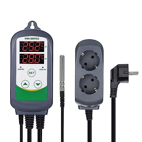 Inkbird ITC-308 EU Prise Refroidissement et Chauffage Aquarium Thermostats Numérique 100-240V, Contrôleur de Température pour Lampe/Cable Chauffant,Serre,Terrarium,Incubateur Reptile+ NTC Sonde