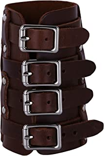 Freebily Punk Faux Leather Adjustable Buckles Gauntlet Wristband Wide Medieval Bracers Protective Arm Armor Cuff