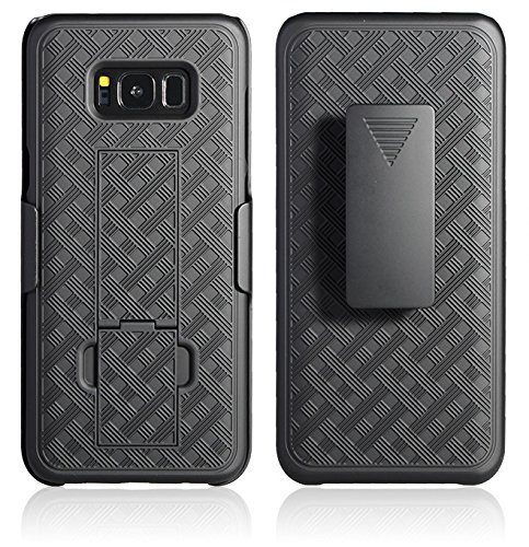 Galaxy S8 Plus Holster Case, WizGear Shell Holster Combo Swivel Slim Belt Case for Samsung Galaxy S8 Plus (ONLY for S8 Plus) with Kick-Stand and Belt Clip - Black