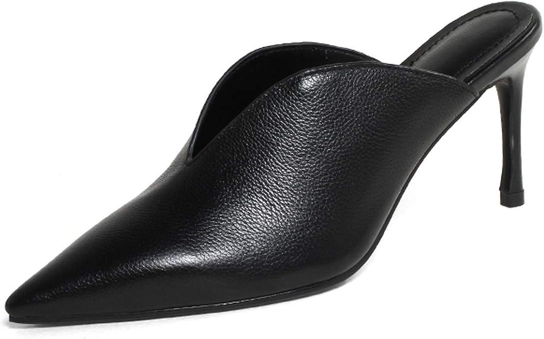 Ladies Mules Sheep Leather High Heels Women Slipper Pointed Toe Thin Heels Buckle Footwear