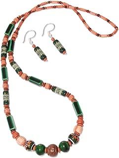 925 Sterling Silver Ceramic Beaded Jewelry Set 'Green Inca'