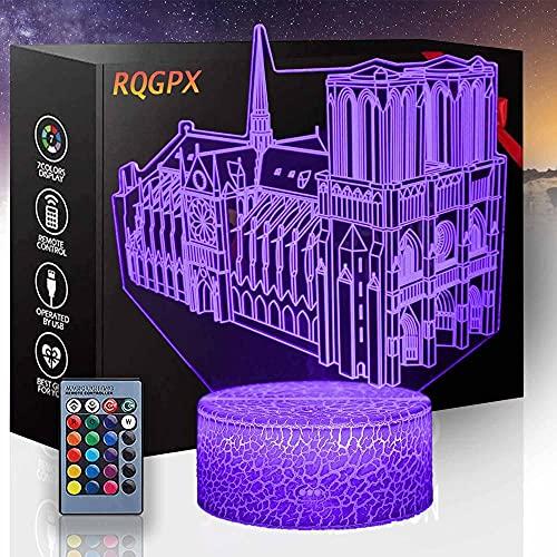 Famous Buildings - Lámpara de mesa con ilusión óptica 3D para niños, niños y niñas como en cumpleaños o vacaciones