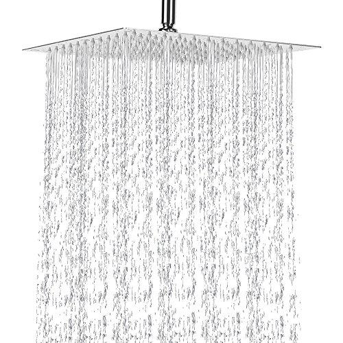 12 Inch Rain Shower Head, NearMoon Stainless Steel Bath Shower, Ultra Thin Rainfall Showerhead Water