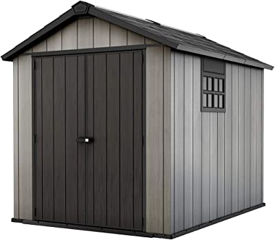 Keter Oakland 7.5x9 Foot Large Resin Outdoor Shed with Customizable Walls for Lawn Mower and Bike Storage, 7.5 x 9, Grey