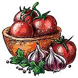 dekodino Wandtattoo Küche Tomaten mit Zwiebeln mediterran Wandsticker Deko