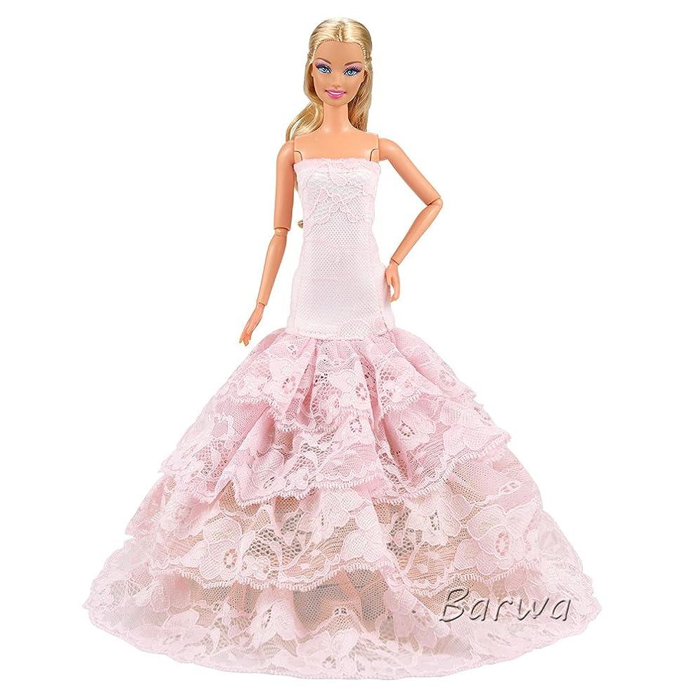 パラメータ期待してラフ高品質バービー服 人形バービードール用ドレス 人形 1/6スケール ファッション ボウラーハット 帽子 刺繍スカート アクセサリー 刺繍ランタンスカート ピンク