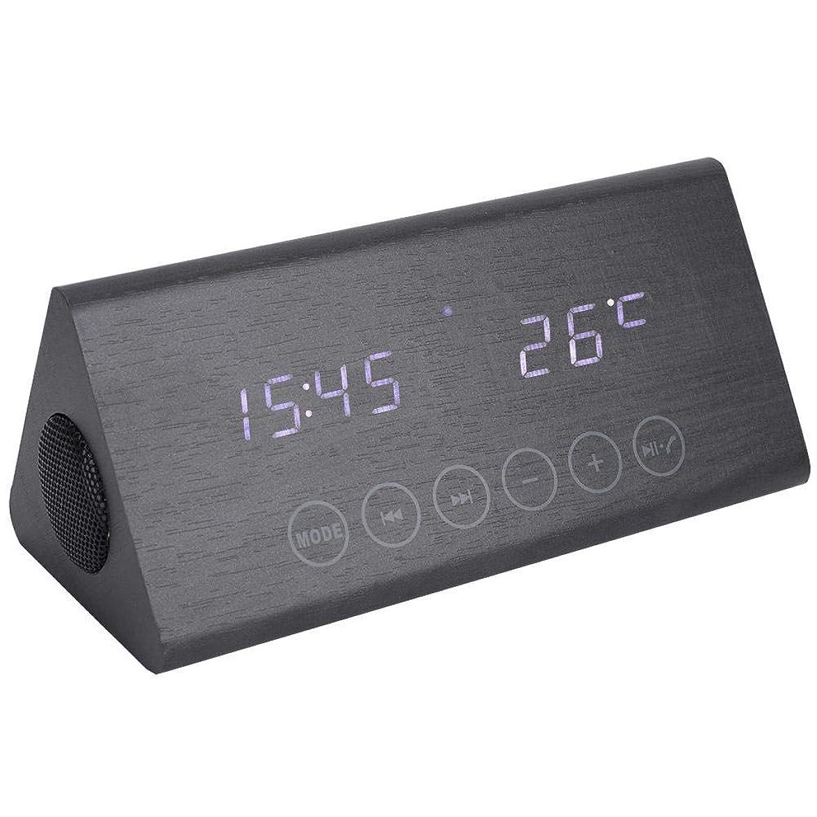腕出演者不完全多機能目覚まし時計、木製目覚まし時計木製スピーカー温度/時間表示、目覚まし時計(#1)