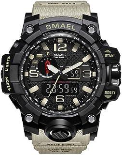 SMAEL Men Waterproof Digital LED Watches Military Alarm Quartz Sport Wrist Watch Khaki
