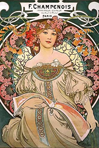 Close Up Alfons Mucha Poster Jugendstil F. Champenois 1897 (61cm x 91,5cm) + 2 St. transparente Posterleisten mit Aufhängung