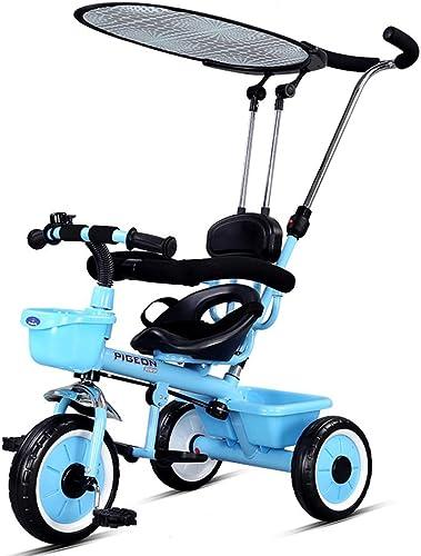 grandes precios de descuento Bicicleta de triciclo manual multifuncional para Niños Niños Niños con visera para bebés de 1 a 5 años de edad (Color   azul)  salida