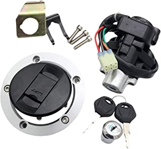 CNCMOTOK Set Ignition Switch + Gas Fuel Tank Cap + Seat Lock + Keys Fit Suzuki GSXR 600 750 GSXR600 GSXR750 2004-2005