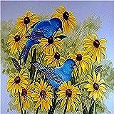 Painting by Numbers DIY Painting Set para niños Adultos Principiantes - Blue Bird Yellow Flowers Drawing Brush Christmas Decorations Regalos 40x50cm (con Marco)