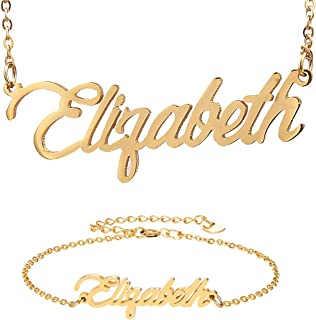 HUAN XUN Personalized Custom Any Name Necklace in Golden Silver Jewelry
