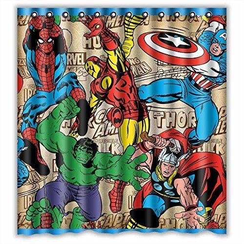 Custom Marvel Comics Superheroes Waterproof Bathroom Shower Curtain Polyester Fabric Size 66 X 72