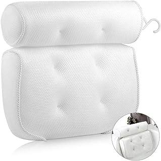SPLIT PEAS Bath Pillow | Luxury Memory Soft | 6 Strong Suctions | Quick Dry 3D Air Mesh | Built in Hook | Ergonomically De...