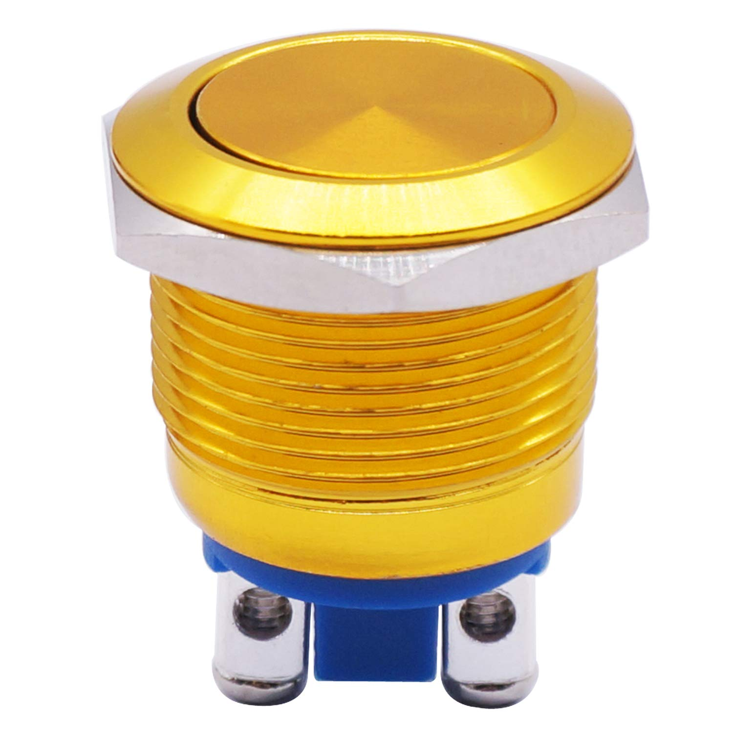 Twidec 19mm Waterproof Golden Metal Shell Momentary Flat Push Button Switch 3A//12~250V SPST 1NO Start Button for car Modification Switch (Quality Assurance for 1 Years)M-19-GLD-P