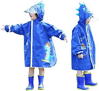 JinBei Chubasquero Poncho Impermeable para Niños con Sombrero Rayas Reflectantes Transparentes para Niñas y Niños Chubasqu...