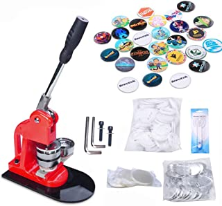 Seeutek Button Maker Button Maker Machine Button Badge Maker 1 inch 25mm with 1100 Pcs Button Parts and 1 inch 25mm Circle Cutter