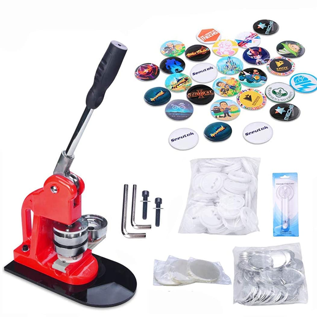 Seeutek 1 inch 25mm Button Maker Machine with 1100 Pcs Button Parts and 1 inch 25mm Circle Cutter