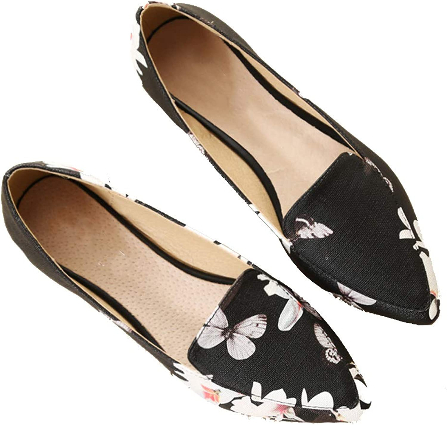 Kyle Walsh Pa Women Floral Printed Flats, Pointed Toe Fashion shoes, Low Heel Comfortable Moccasins
