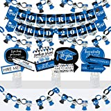 Big Dot of Happiness Blue Grad - Best is Yet to Come - Banner and Photo Booth Decorations - 2021 Royal Blue Graduation Party Supplies Kit - Doterrific Bundle