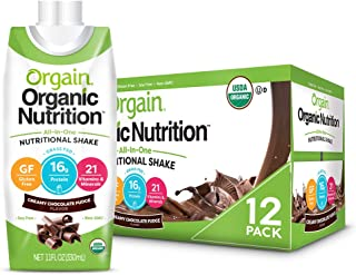 Orgain Organic Nutritional Shake, Creamy Chocolate Fudge - Meal Replacement, 16g Protein, 21 Vitamins & Minerals, Gluten F...