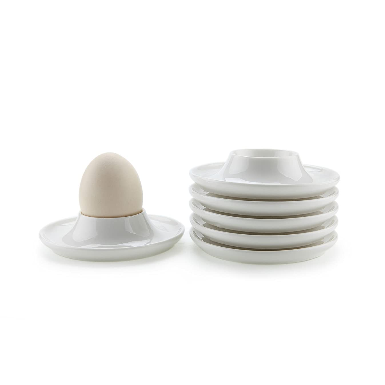 ComSaf Porcelain Egg Cups Plates with Base, Soft Boiled Egg Cup Holders White, Pack of 6