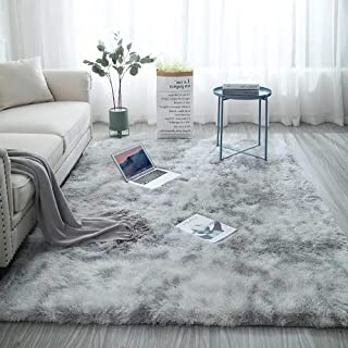 Shag Collection Area Rug Soft Comfy Rug for Bedroom Living Room Fluffy Faux Fur Carpet for Kid Nursery Plush Shaggy Rug Fuzzy Decorative Floor Rugs Contemporary Luxury Large Accent Rug Gray 5.3 x 6.6