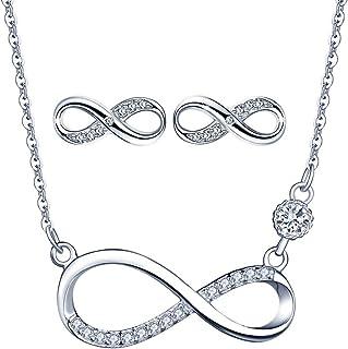 Collar de símbolo de infinito, pendientes de símbolo de infinito, joyería de plata esterlina 925 para mujer niña, juegos d...
