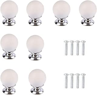 Pack of 8 Frosted Glass Crystal Drawer Knobs and Pulls Knobs Handles for Kitchen Furniture Door Drawer Cabinet Dresser Closet Wardrobe Cupboard Bathroom