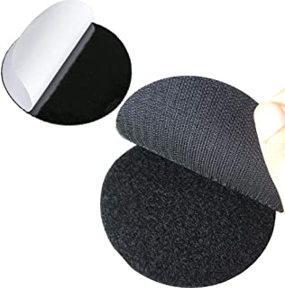 Bigger Round Size Self Adhesive 6 Pack 4 inch Hook Loop Tape Dots with Super Sticky Back Mounting Tape Removable Perfect for Home or Office (4 inch Diameter, Black)