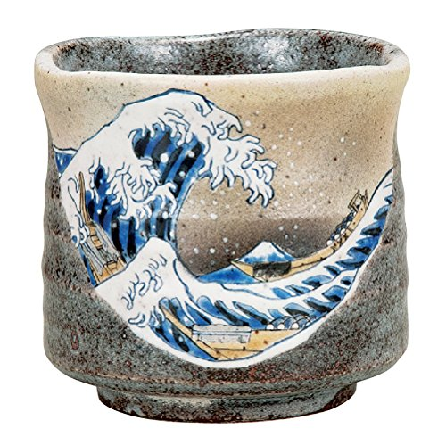 kutani Cerámica Japonesa de la Taza de Té,café Yunomi Gran Tamaño Hokusai Ola de Kanagawa K4-653