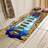 OPLJ Alfombra 3D con Estampado de Paisaje, Adecuada para alfombras de Puerta de Dormitorio, alfombras de Cocina, alfombras de Bienvenida Lavables Antideslizantes A3 60x180cm