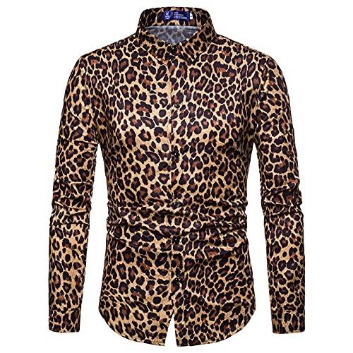 WUGDSQGH Herren Blumen Hemd Langarm Herren Trendy Nightclub Leopard Print Shirt Langarm Shirt Herren Social Casual Party Shirt Hemd Herren Formal Shirt Geschenk Holiday Party, Gelb, M
