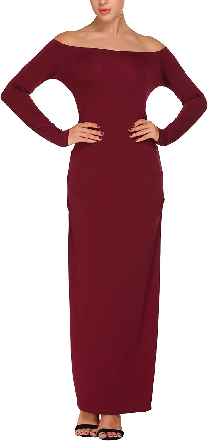 ANGVNS Women's Formal Elegant Off Shoulder Long Sleeve Maxi Bridesmaid Party Dress