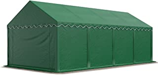 TOOLPORT Tente de Stockage 4x8 m Economy Toile PVC 500 g/m² Vert Fonce imperméable Protection Contre Les Rayons UV (80+) Structure Robuste
