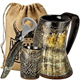 Viking Culture Ox Horn Mug, Shot Glass, and Bottle Opener (3 Pc. Set) Authentic 16-oz. Ale, Mead, and Beer Tankard | Vintage Stein with Handle | Custom Intricate Design - Natural Finish
