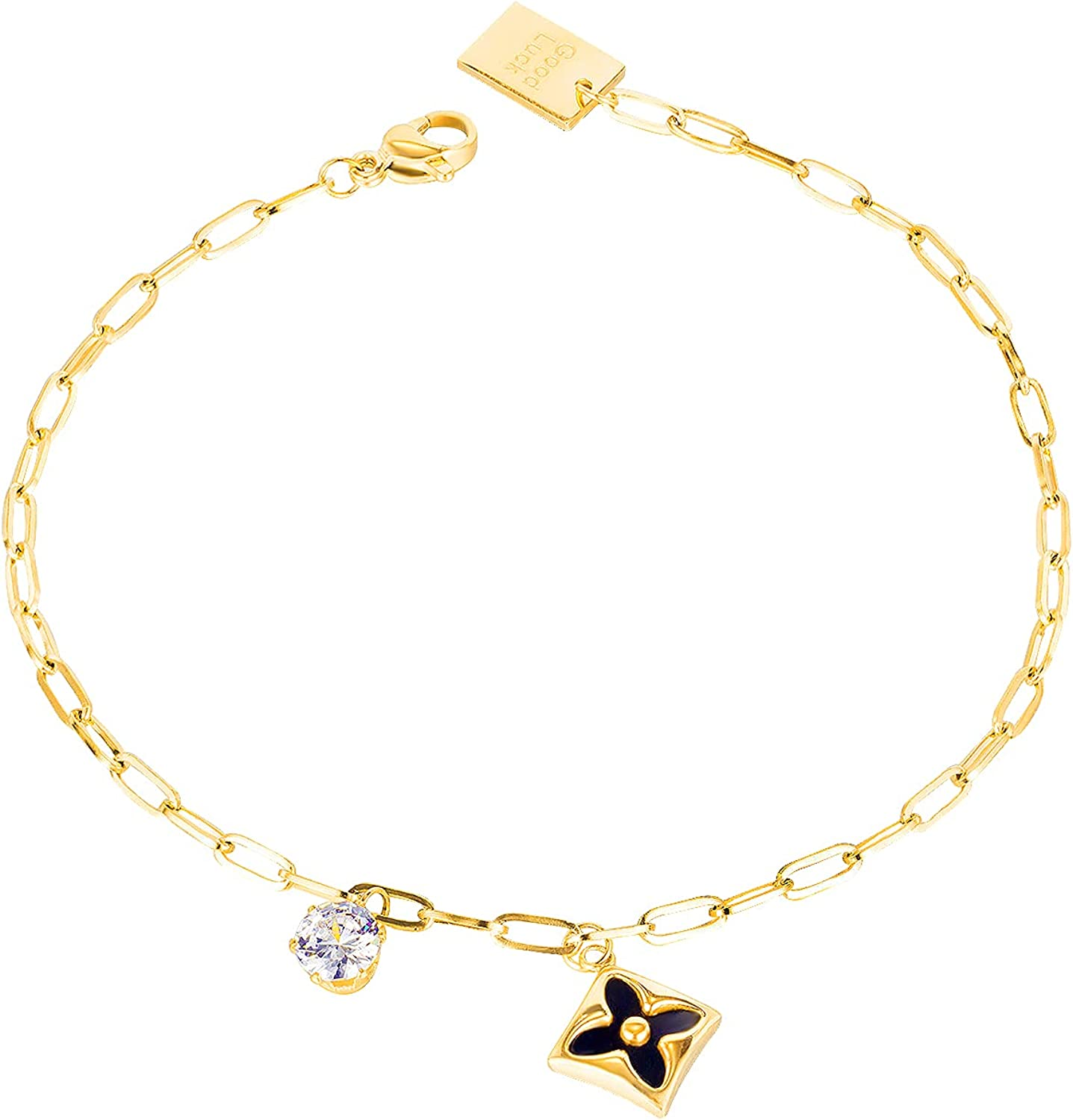 Stainless Steel Clover Anklet with Zirconia Round Pendant Gift for Girls