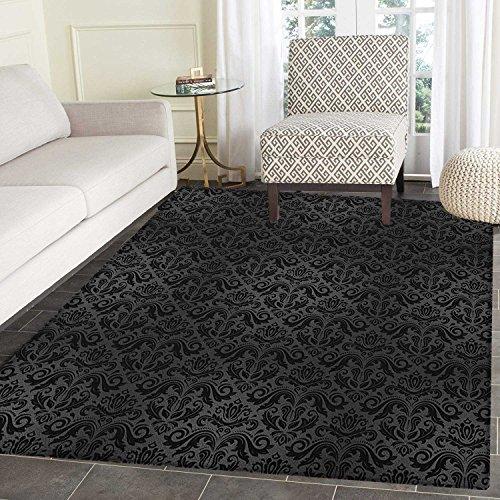 Dark Grey Area Silky Smooth Rugs Black Damask Arabesque and Floral Elements Oriental Antique Ornament Vintage Floor Mat Pattern 3'x5' Black Grey