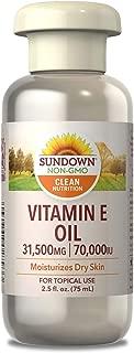 Sundown Vitamin E Oil 70,000 IU, 2.5 Fl Oz, Pack of 3(Packaging May Vary)
