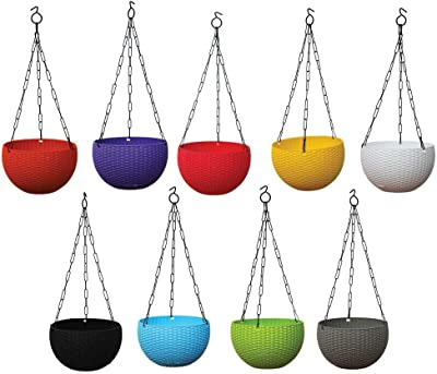 TrustBasket Weave Hanging Basket Mixed Colours (Set of 5)-Multicolour Hanging Basket,Hanging Flower Basket/Balcony,Indoor,Outdoor Hanging