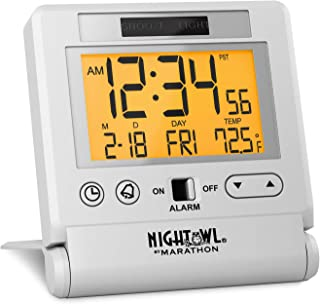 Marathon Atomic Travel Alarm Clock with Auto Back Light Feature, Calendar and Temperature. Folds into One Compact Unit for Travel - Batteries Included - CL030036WH (White)