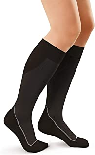 JOBST Sport Knee High 20-30 mmHg Compression Socks, Black/Cool Black, Medium