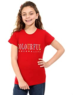 Andora Colorful Personality Embroidered Letters Short Sleeves Crew Neck T-shirt for Girls