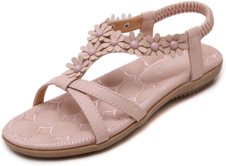 Dreneco Women Bohemian Flower Sandals,Summer Flat shoes for Ladies