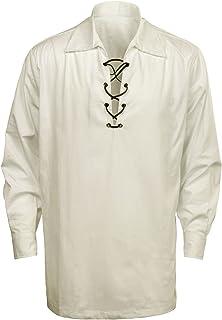 Men's Scottish Jacobite Ghillie Kilt White Cream Highland Shirt Long Sleeve Lace Up Medieval Renaissance Pirate Costume Shirt