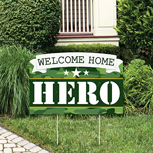 Big Dot of Happiness Welcome Home Hero - Military Army Homecoming Yard Sign Lawn Decorations - Party Yardy Sign