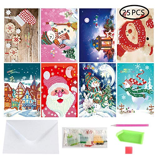 AOLVO 25 In 1 DIY Christmas Greeting Card Diamond Painting, Creative Manual 3D Diamond Painting Full Drill Cartoon Santa Claus Postcard Kits for Festive Birthday New Year Gift (8 Packs)