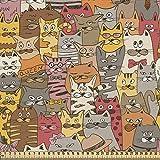 ABAKUHAUS Gato Tela por Metro, Mascotas Comic Psicodélicos, Decorativa para Tapicería y Textiles del Hogar, 1M (148x100cm), Multicolor