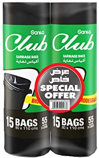 Sanita Club Garbage Bags Twin Pack Roll , 55 Gallons X-Large ,30 bags